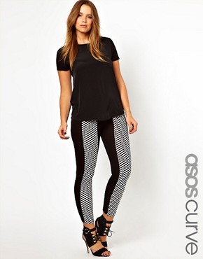 Image 1 ofASOS CURVE Exclusive Legging With Chequerboard Panel