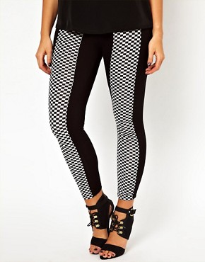 Image 4 ofASOS CURVE Exclusive Legging With Chequerboard Panel