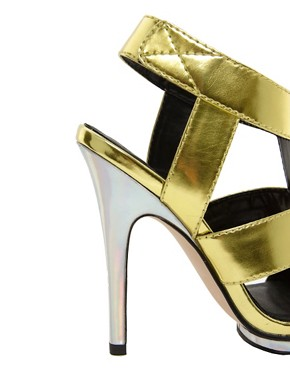 Image 2 ofASOS HALLEY Metallic High Heel Sandals