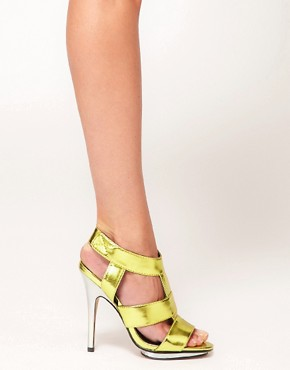 Image 3 ofASOS HALLEY Metallic High Heel Sandals