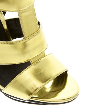 Image 4 ofASOS HALLEY Metallic High Heel Sandals