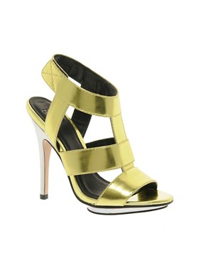 Image 1 ofASOS HALLEY Metallic High Heel Sandals