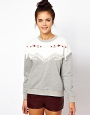 Dahlia Western Style Sweatshirt with Fringing