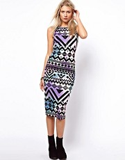 ASOS Body-Conscious Dress In Blurred Aztec Print