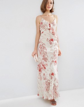 ASOS Ruffle Front Maxi Dress in Wallpaper Print