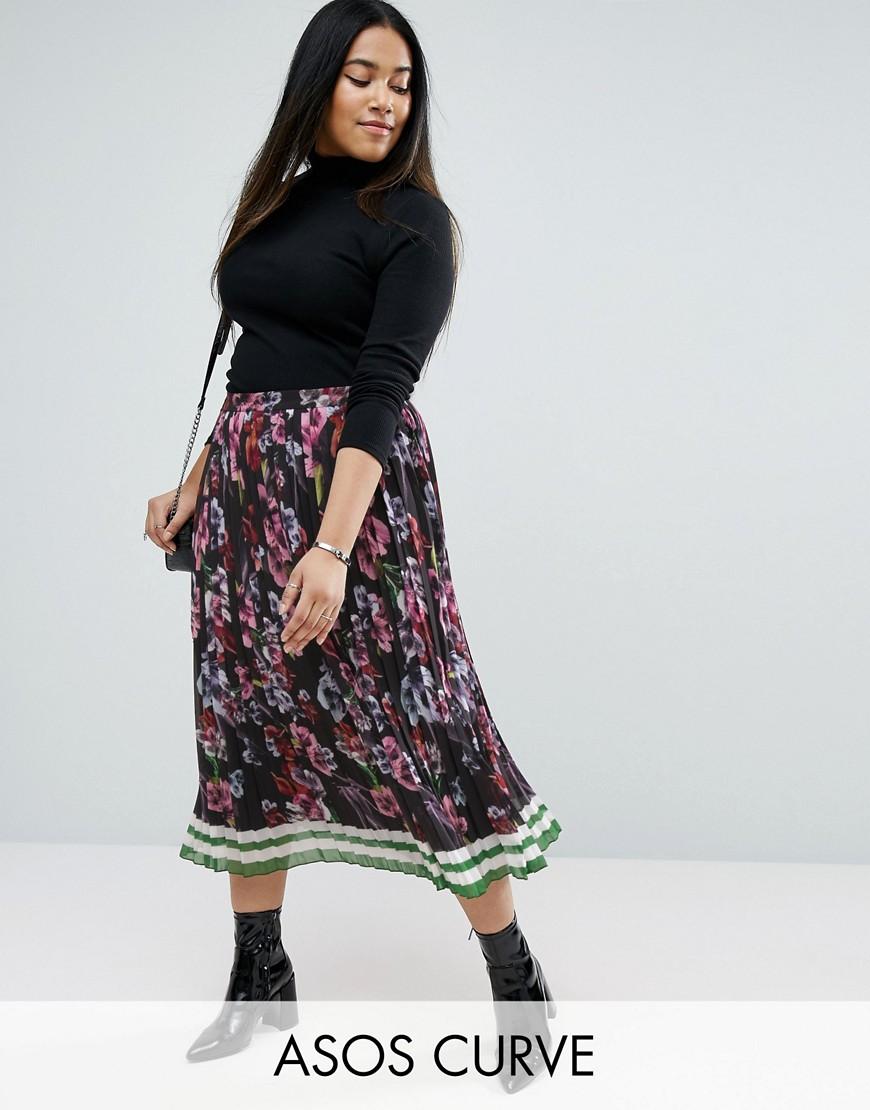 Asos curve pleated midi border print skirt multi £21.00 ...