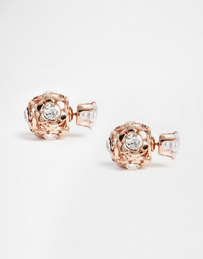 Love Rocks Crystal Sphere Through and Through Stud Earrings
