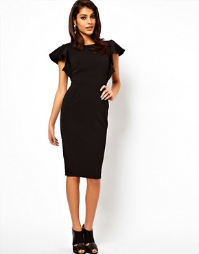 Image 1 ofASOS Pencil Dress with Ruffle Sleeves