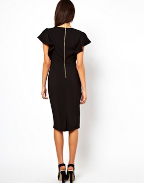 Image 2 ofASOS Pencil Dress with Ruffle Sleeves