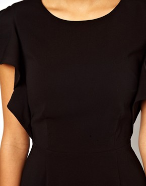 Image 3 ofASOS Pencil Dress with Ruffle Sleeves
