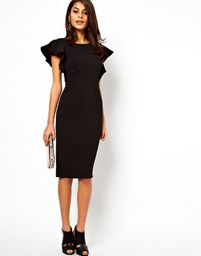 Image 4 ofASOS Pencil Dress with Ruffle Sleeves
