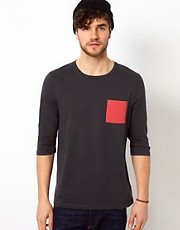 ASOS 3/4 Sleeve T-Shirt With Contrast Pocket