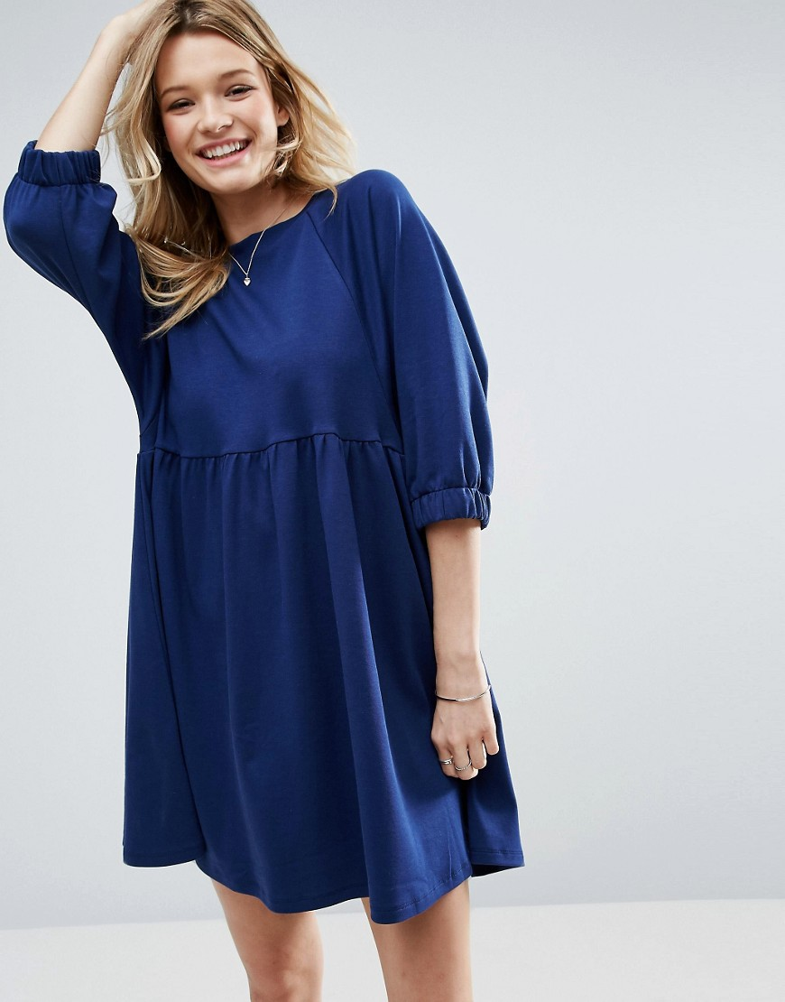 ASOS Cotton Smock Dress With Elastic Cuff Detail - Navy