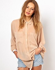 American Apparel Chiffon Oversized Button Up Blouse