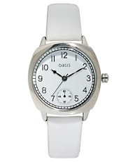 Oasis Square Face Watch With White Leather Strap