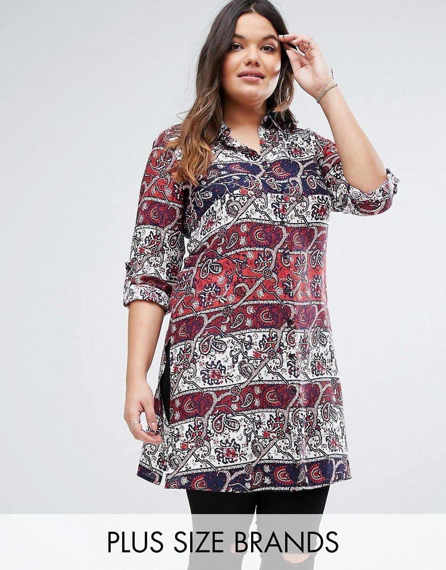 Diya Plus Shirt Dress - Red