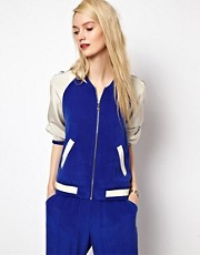 Whistles Silk Varsity Bomber