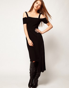 Image 1 ofKore by Sophia Kokosalaki Off Shoulder Pleat Panel Dress