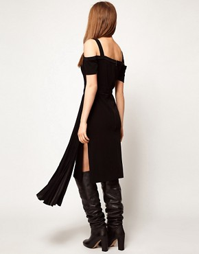 Image 2 ofKore by Sophia Kokosalaki Off Shoulder Pleat Panel Dress