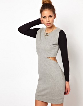 Image 1 ofGlamorous Sweat Dress with Cut Out and Contrast Sleeve