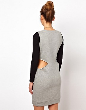 Image 2 ofGlamorous Sweat Dress with Cut Out and Contrast Sleeve