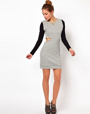 Image 4 ofGlamorous Sweat Dress with Cut Out and Contrast Sleeve
