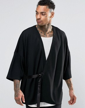 ASOS Kimono With Belt In Textured Fabric