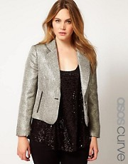 ASOS CURVE Blazer In Metallic