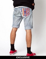 Reclaimed Vintage Shorts with Aztec Pocket