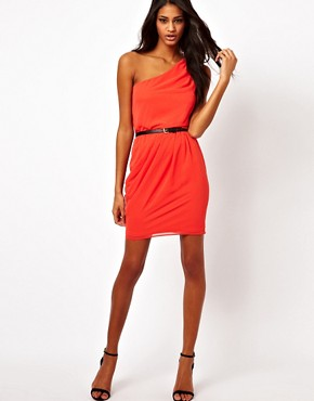 Image 4 ofASOS One Shoulder Dress With Gathered Waist