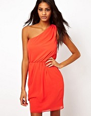 ASOS One Shoulder Dress With Gathered Waist
