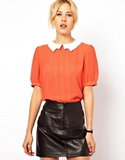 ASOS Blouse With Contrast Lightening Collar