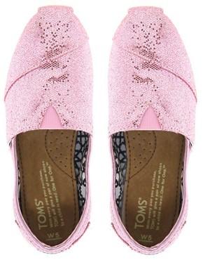 Image 3 ofTOMS Pink Glitter Flat Shoes