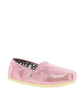 Image 1 ofTOMS Pink Glitter Flat Shoes