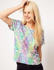ASOS Embellished T-Shirt With Printed Sequins