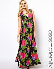 ASOS MATERNITY  Maxikleid mit groem Blumenmuster