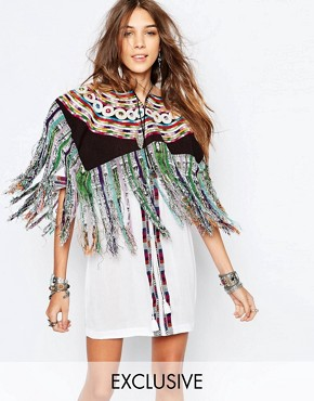 Hiptipico Handmade Fringed Cape with Multi Stripe and Floral Embroidery