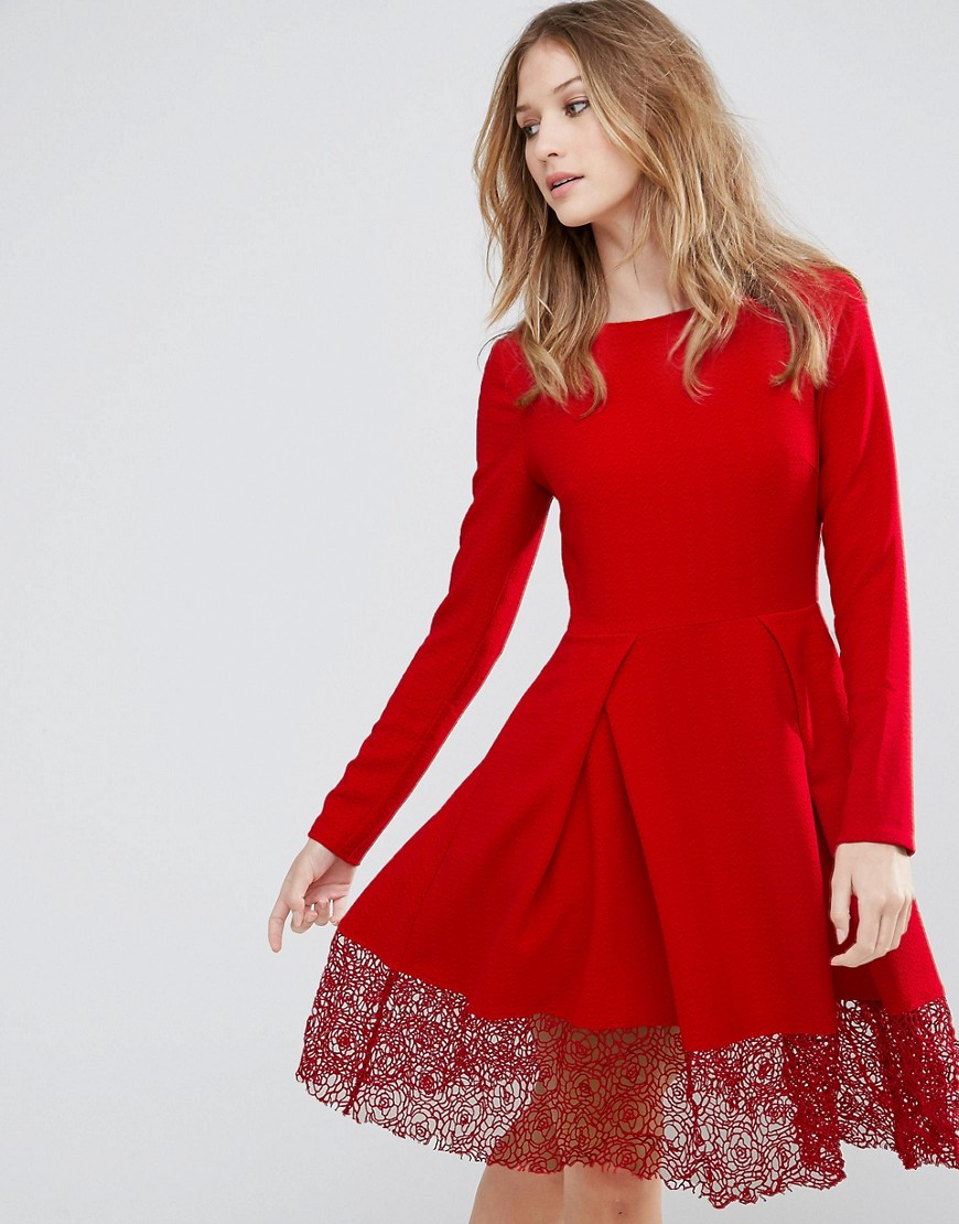 Traffic People Long Sleeve Skater Dress With Lace Insert