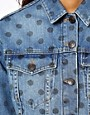 Image 3 of ASOS Cropped Denim Jacket in Polka Dot Print