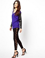 Warehouse Lace Panel Ponte Leggings