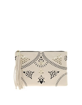 Image 1 ofASOS Floral Punchout Clutch Bag