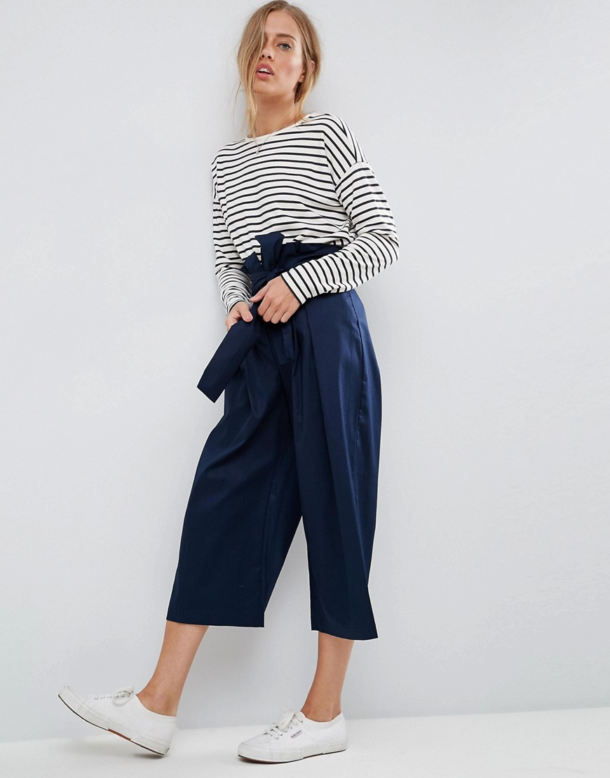 ASOS Tailored Wide Leg Culotte with Paper Bag Waist - Navy