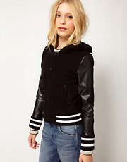b + ab Varsity Jacket With Faux Fur Hood