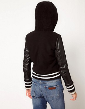 Image 2 ofb + ab Varsity Jacket With Faux Fur Hood