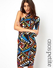 ASOS PETITE Exclusive Body-Conscious Dress In Print With One Sleeve