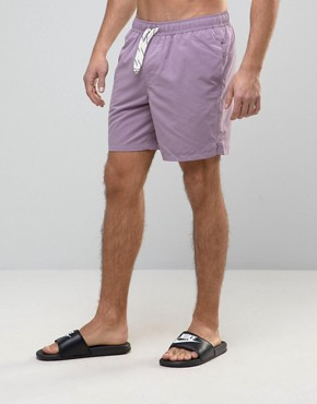 ASOS Mid Length Swim Shorts In Purple With Drawcord Detail