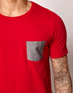 Image 3 ofASOS T-Shirt With Oxford Pocket