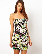 Lipsy Bandeau Dress in Summer Floral Print