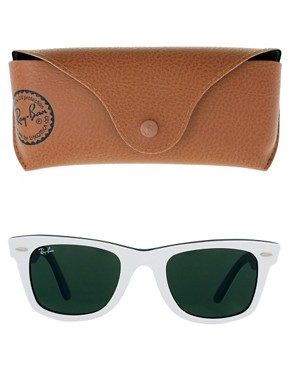 Image 2 of Ray-Ban Top White on Black Original Wayfarer Sunglasses