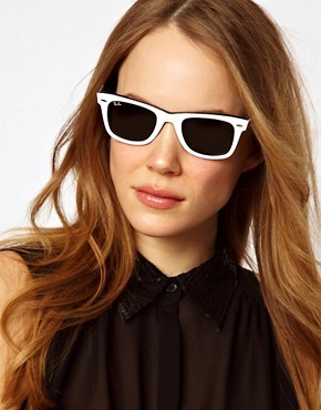 Image 3 of Ray-Ban Top White on Black Original Wayfarer Sunglasses